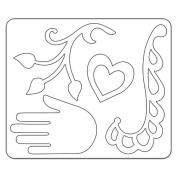 Sizzix Sizzlits Die 11cm x 13cm -Flourish, Hand, Heart & Vine