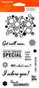 Fiskars 104220-1001 Clear Stamps, 10cm by 20cm , Hexagon Sentiments