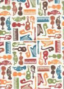 "Violin, Guitar, Harp, Saxophone Trumpet Decorative Gift Wrap Paper ""Sounds and Colours"