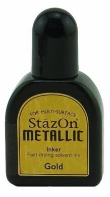 Tsukineko 1/2 Fluid Ounce StazOn Metallic Inker, Gold