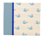 Hom Essence 0432 20cm by 20cm Post Bound Scrapbook, Fabric with Whale Icon and Faux Leather Accents
