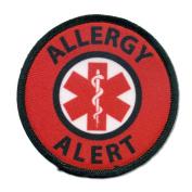 ALLERGY ALERT Black Rim and Red Medical Alert 6.4cm Sew-on Patch