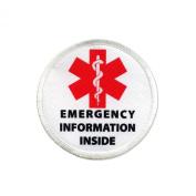 Emergency Information Inside Red Medical Alert 6.4cm Sew-on Patch