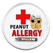PEANUT ALLERGY Medical Alert 6.4cm White Rim Sew-on Patch