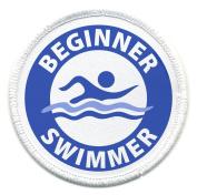 Blue BEGINNER SWIMMER Pool Safety Alert 6.4cm Sew-on Patch