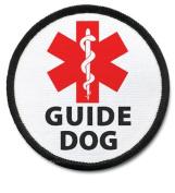 GUIDE DOG Black Rim Medical Alert 6.4cm Sew-on Patch