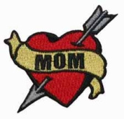 Tattoo Art Heart Arrow Name Embroidered Iron On Applique Patch - Mom