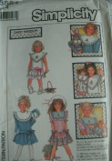 CHILDS DRESS WITH DETACHABLE CONTRAST COLLAR OR PURCHASED PRE-PRINTED COLLARS SIZE 4 SIMPLICITY DAISY KINGDOM PATTERN 8594