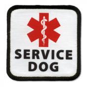 SERVICE DOG ADA Red Medical Alert Symbol Black Rim Square Patch
