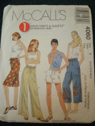 MISSES PANTS & SHORTS IN TWO LENGTHS SIZE XS-M (4-14) 1 HOUR PANTS AND SHORTS FROM MCCALLS SEWING PATTERNS #4060