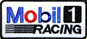 Mobil 1 Gas Oil Logo Car Racing T-shirt Jacket Patch Sew Iron on Embroidered Sign Badge Costume Size 7.6cm width X 4.4cm height