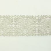 Silver Metallic Lace trim by the yard - Bridal wedding Lace Trim embroidery trim wedding fabric Millinery accent motif scrapbooking crafts lace for baby headband hair accessories dress bridal accessories by Annielov trim #124