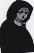 Misfits Style Grim Reaper Iron on/Sew on Embroidered Patch - Silver Face