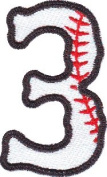 Number 3 Baseball Embroidered Sew on Patch