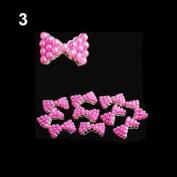 10x 3D Pearl Bowtie Nail Art Glitters Stickers DIY Decorations Rose-red