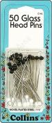 Collins Glass Head Pins 4.8cm Blk & Wht 50pc