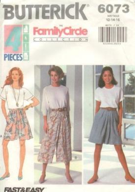 Butterick 6073 - Misses Split Skirt, Fast and Easy - Sizes 12, 14, 16