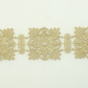 Gold Metallic Lace trim by the yard - Bridal wedding Lace Trim embroidery trim wedding fabric Millinery accent motif scrapbooking crafts lace for baby headband hair accessories dress bridal accessories by Annielov trim #129