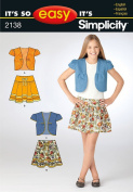 Simplicity It's So Easy Pattern 2138, Girls Jacket and Skirt, Size A