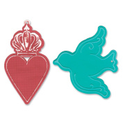 Sizzix Bigz Die/Bonus Textured Impressions Where Women Cook-Heart Crown & Bird Tags