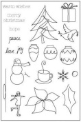 Doodle Christmas Clear Unmounted Rubber Stamp Set