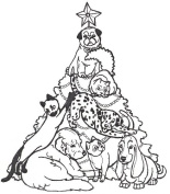 Dog Rubber Stamp - Christmas Tree of Pets-1J (Size