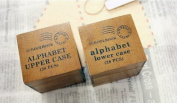 Wooden Rubber Stamp Box - Alphabet Stamps - Print Style - Capital Letters 2 Set 56 Pcs