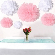 12pcs Mixed 3 Sizes White Pink Tissue Paper Pom Poms Flower Wedding Party Baby Girl Room Nursery Decoration