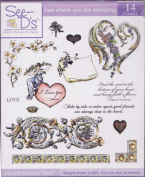 See D's Hearts and Love 14 Rubber Stamps and Case # 50203 Inque Boutique SugarLoaf