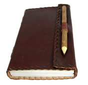 Rugged Leather Journal with Parchment Paper and Natural Pencil (23cm x 14cm ) - Crockett Series By Viatori