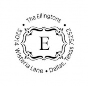 New Executive Monogram Custom Return Address Round Self inking Rubber Stamp - 15