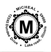 Maxstamp C-43 New Round Monogram & Self-Inking Address Stamp - 06