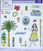 See D's Aloha 20 Rubber Stamps + Case # 50156 Inque Boutique Sugarloaf