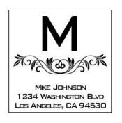 Imprue's New Decorative Square Initial Floral Design Address Custom Pre ink stamp