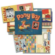 K & Co 8.5x8.5 Postbound Scrapbook ALL IN ONE KIT PONY BOY