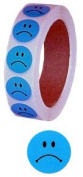 Blue Frowny Face Stickers 2.5cm Diameter Roll of 1000