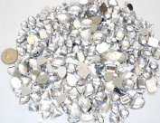 LOVEKITTY TM 350 pc lot - Sew-On Gems -Clear Mixed Shapes Flat Back Gems