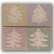 Brush Art Trees Wood Mounted Rubber Stamp Set