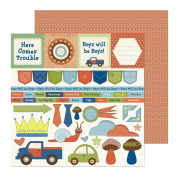 Nikki Sivils Scrapbooker Noah, Noah's Closet Cut-Ups and Noah's Wallpaper Paper, Double-Sided Paper, 25-Sheet