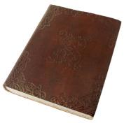 Handcrafted Genuine Hardbound Leather Journal with Parchment Paper (15cm x 20cm ) - Vecchio Mondo Series By Viatori