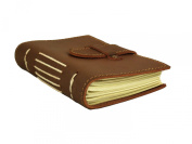 Rustic Leather Pocket Notebook with Handmade Paper - 8.9cm x 13cm