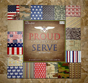 Army Navy Air Force Marines Military the Paper Studio Proud to Serve Scrapbook Paper 30cm x 30cm New