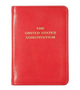 Palm-size Constitution in traditional Red Calfskin Leather.by Graphic Image - 2.75x3.75