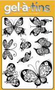 Gel-A-Tins Stamps W/ Storage Tin - Butterflies Are Free GREAT Detail for Embossing, too! Gelatins