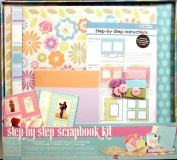 Colorbok Complete 12x12 Scrapbook Kit -1 Hour Finish Step By Step -Spring Stripe