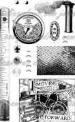 Eco Green Crafts Recycled Rubber Stamps, Steampunk Accessories 01