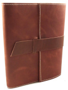Rustic Ridge Refillable Leather Travel Journal with Handmade Paper - 15cm x 20cm - Saddle Brown