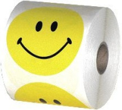 Yellow Smiley Face Stickers 7.6cm Diameter Roll of 500