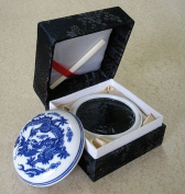 Chinese Stamp Ink- Black in a Porcelain Dish