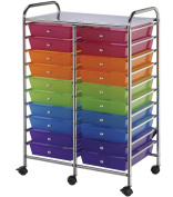 Blue Hills Studio Double Storage Cart with 20 Drawers, 60cm by 100cm by 39cm , Multi-Colour